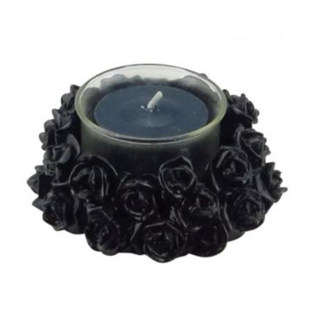 Teelichthalter, schwarzer Rosenring
