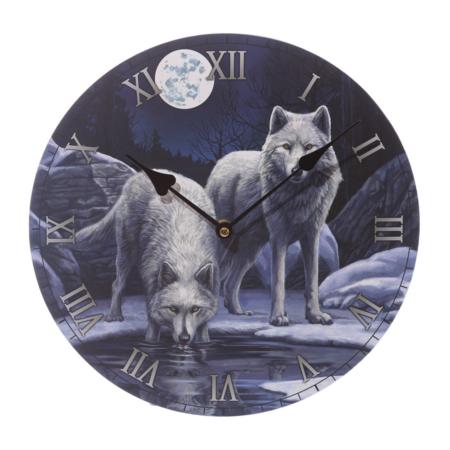 Bilderuhr - Winter Krieger Wolf von Lisa Parker