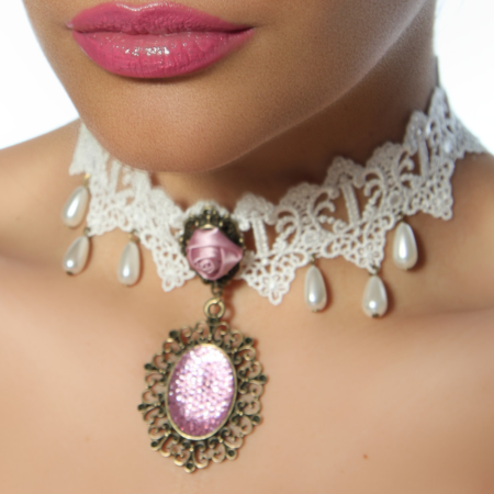 Burlesque-Collier in Weiss-Rosa