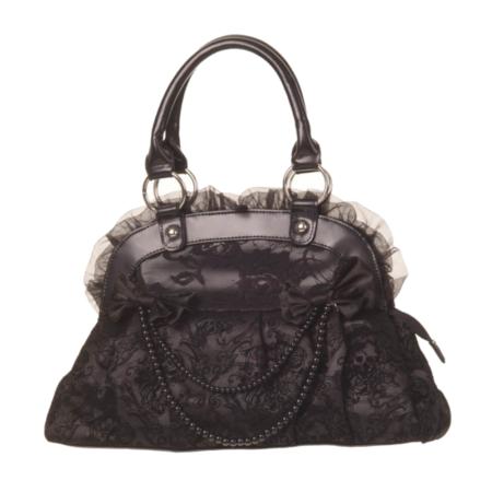 Handtasche mit Perlenkette und Schleifen