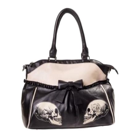 Handtasche mit Schleifchen und Totenkopfprint