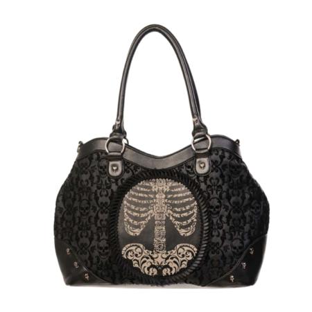 Handtasche mit Skulldesign und aufgedrucktem Brustkorb