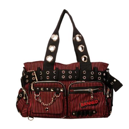 Handtasche schwarz-rot gestreift