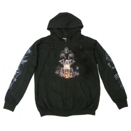 Hoodie Zipper Wild Riding Death Front Glow
