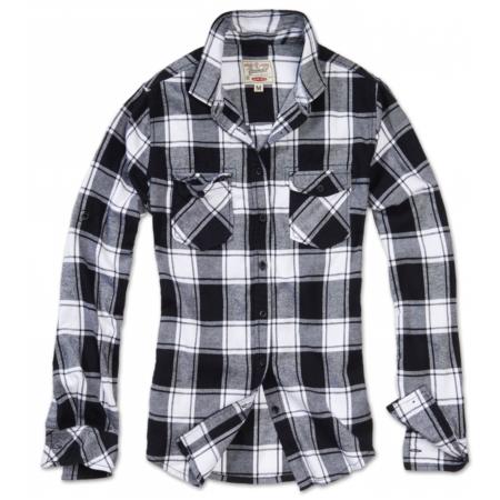 Karo-Flanellhemd schwarz-weiss mit Brusttaschen
