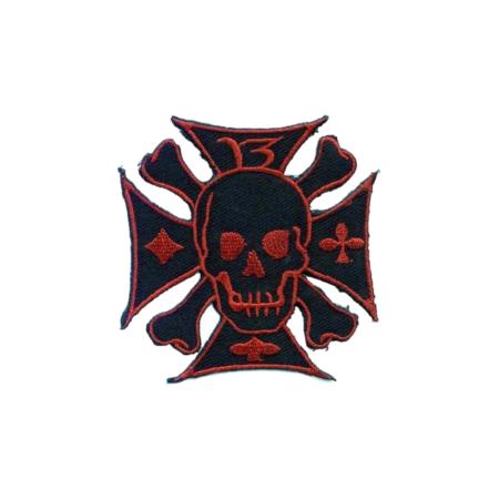 Patch Eisernes Kreuz mit Totenkopf, Rot