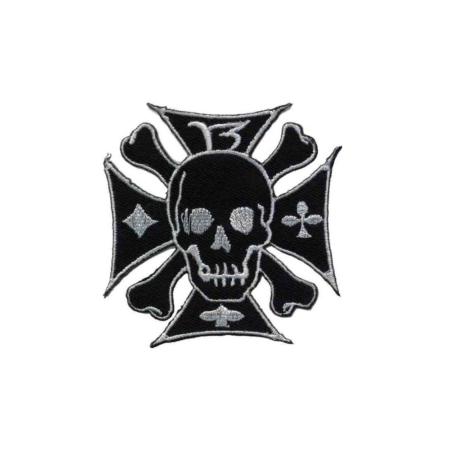 Patch Eisernes Kreuz mit Totenkopf, Weiss
