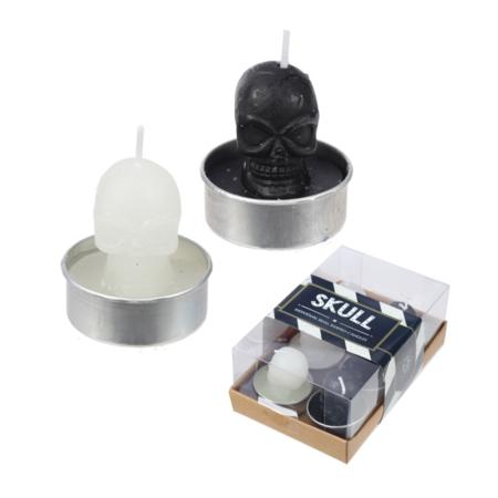 Schwarze und Weisse Teelicht Kerzen Totenköpfe - 6er Set