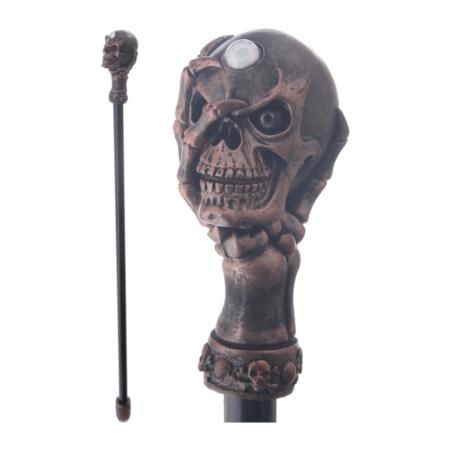 Schwarzer Gehstock mit Skelett Hand und Totenkopf
