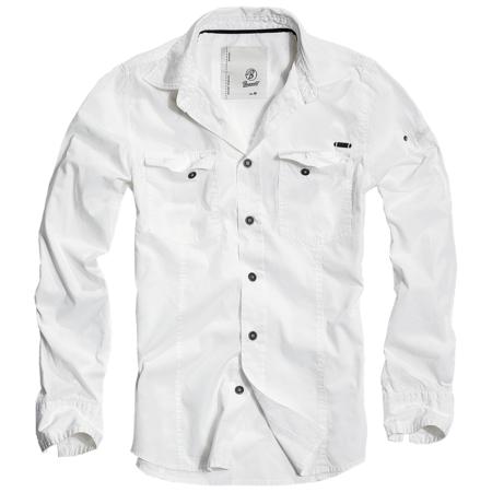 Slim-Fit Shirt langarm mit Brusttaschen weiss