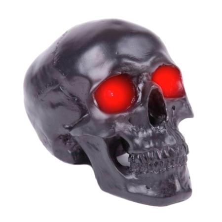 Totenkopf-Lampe schwarz, mit roten Lichtern