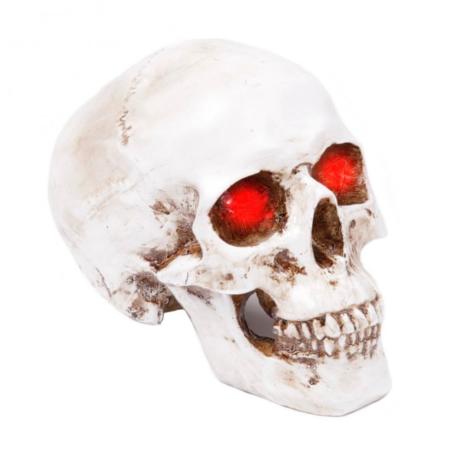 Totenkopf-Lampe weiss mit roten Lichtern