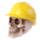 Totenkopf mit gelbem Bauarbeiterhelm