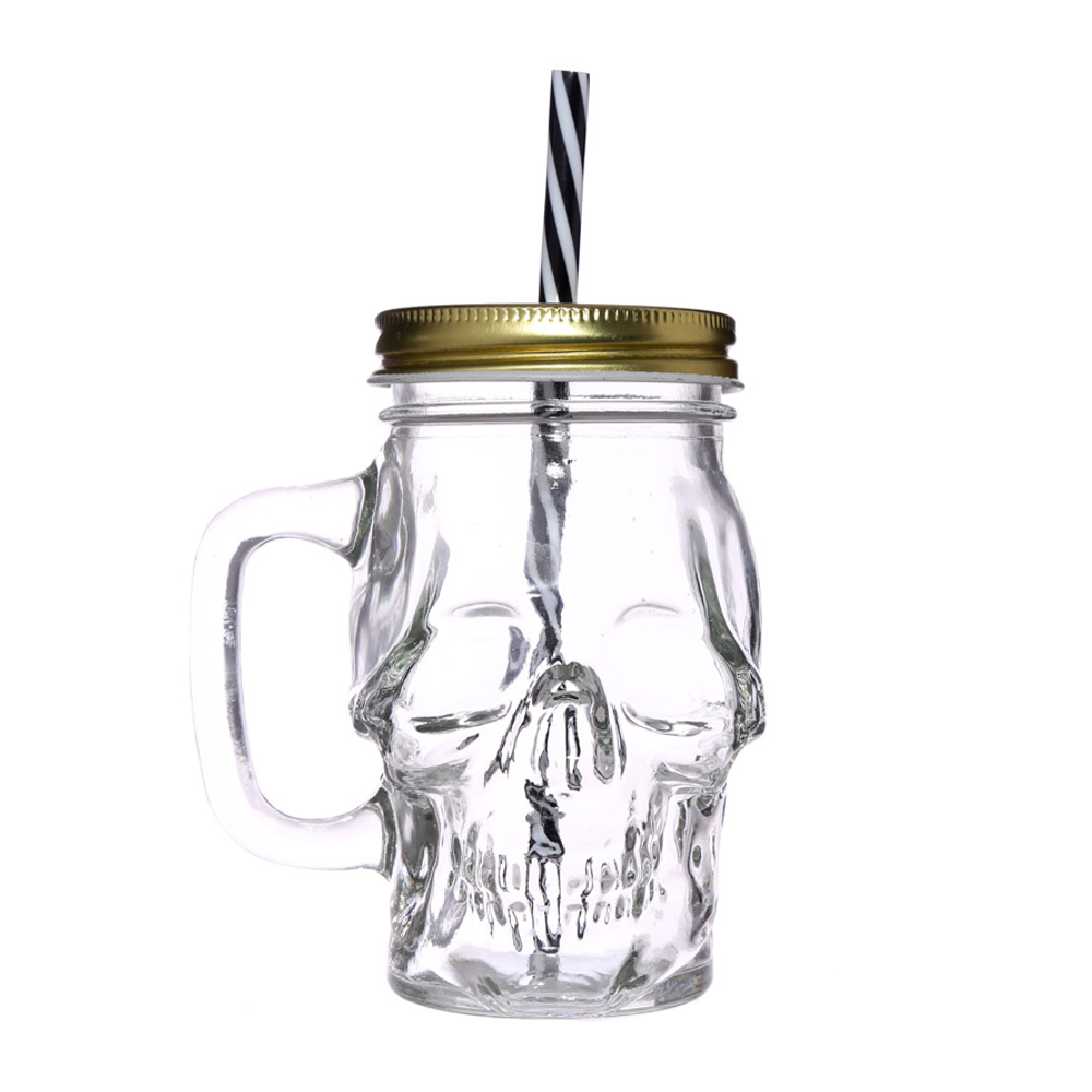totenkopf trinkglas mit metalldeckel und strohhalm variatur. Black Bedroom Furniture Sets. Home Design Ideas